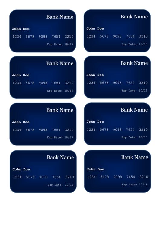 Sample Credit Card Template