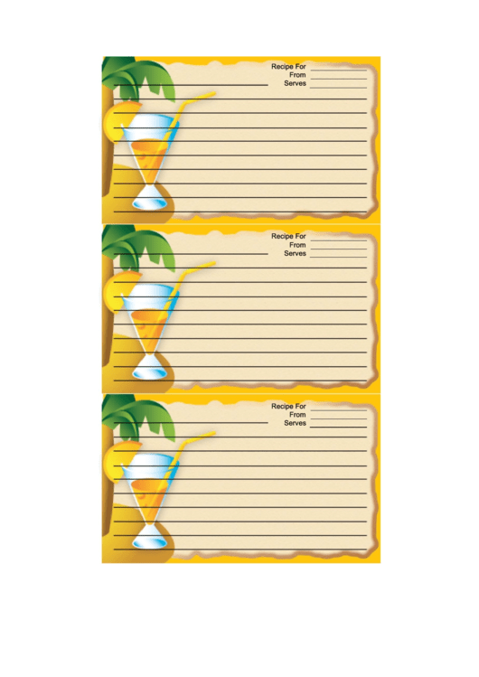 Palm Tree Drink Orange Recipe Card Template Printable pdf