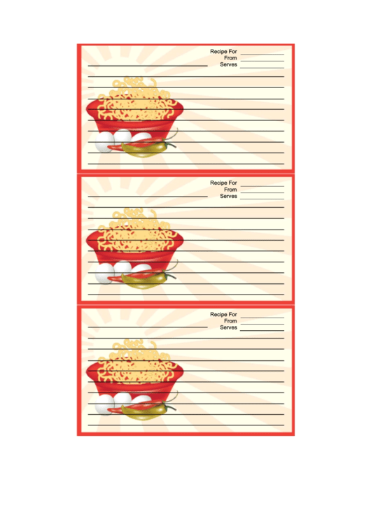 Red Noodles Recipe Card Template Printable pdf