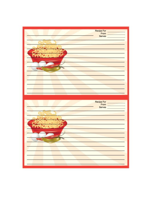Red Noodles Recipe Card Template