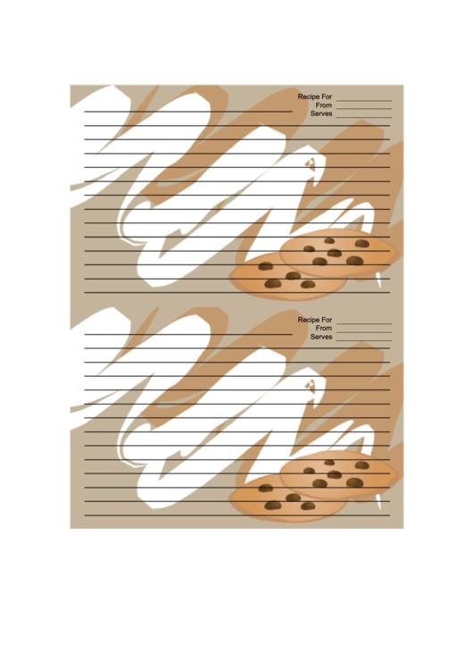 Chocolate Chip Cookies Tan Recipe Card