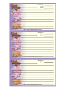 Star Gingerbread Cookies Purple Recipe Card Template