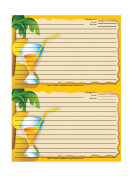 Palm Tree Drink Orange Recipe Card Template