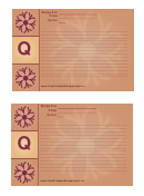 Alphabet - Q 4x6 - Lined Recipe Card Template