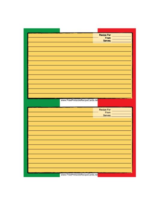 Mexican Flag Recipe Card