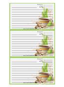 Tea Ginger Green Recipe Card Template
