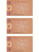 Alphabet - U 3x5 - Lined Recipe Card Template