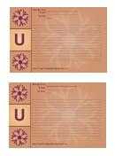 Alphabet - U 4x6 - Lined Recipe Card Template