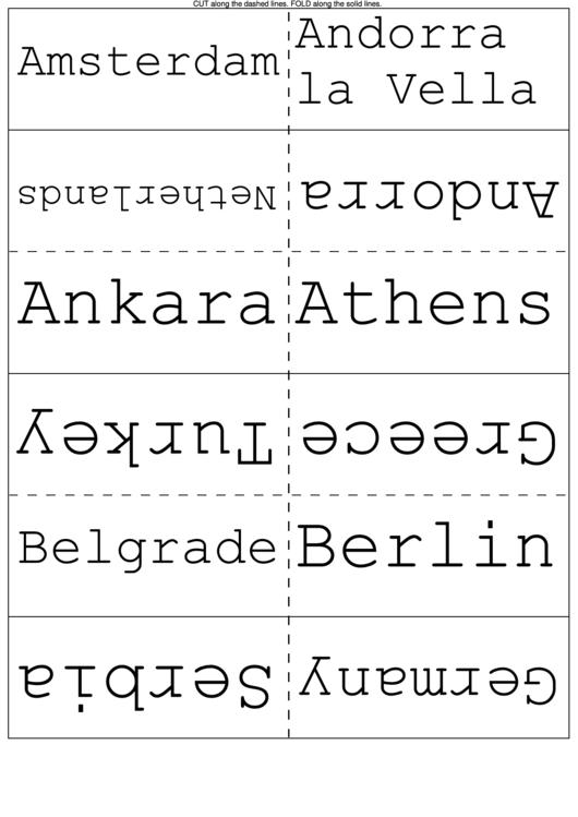 European Cities Flash Cards