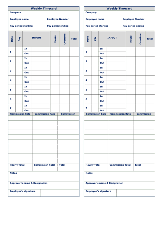 Weekly Timecard Template - Black And White Printable pdf