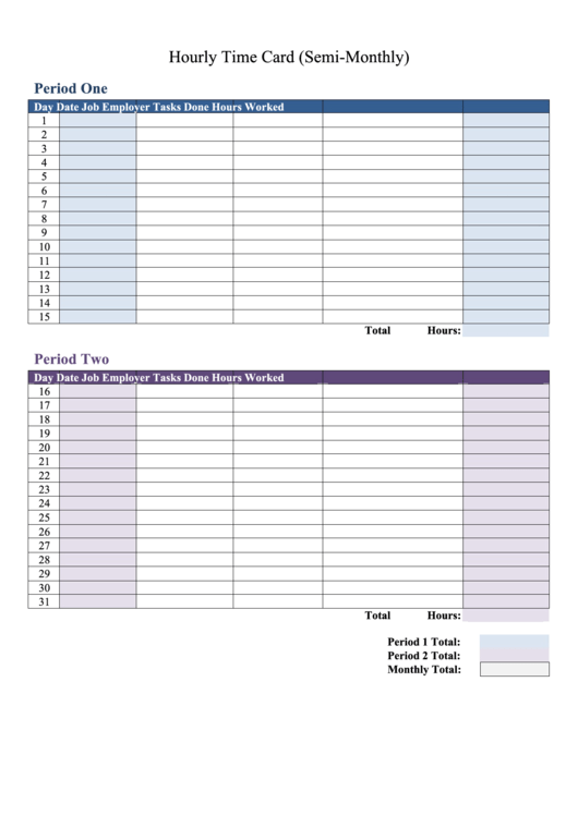 Hourly Time Card Printable pdf