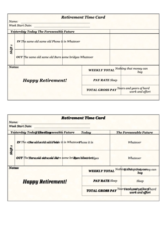 Retirement Time Card Template printable pdf download