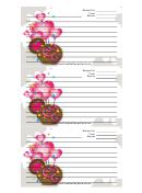 White Heart Balloons Recipe Card Template