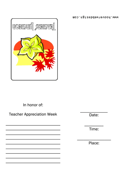 Teachers Luncheon Invitation Template Printable pdf