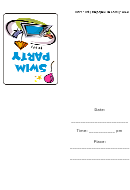 Swim Party Invitation Template