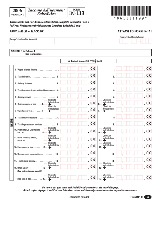 Form In-113 - Income Adjustment Schedules - 2006 Printable pdf
