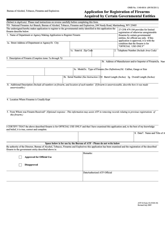 Form 10 - Application For Registration Of Firearms Acquired By Certain Governmental Entities