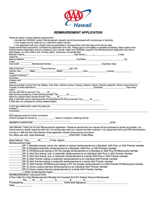 Reimbursement Application Form American Automobile