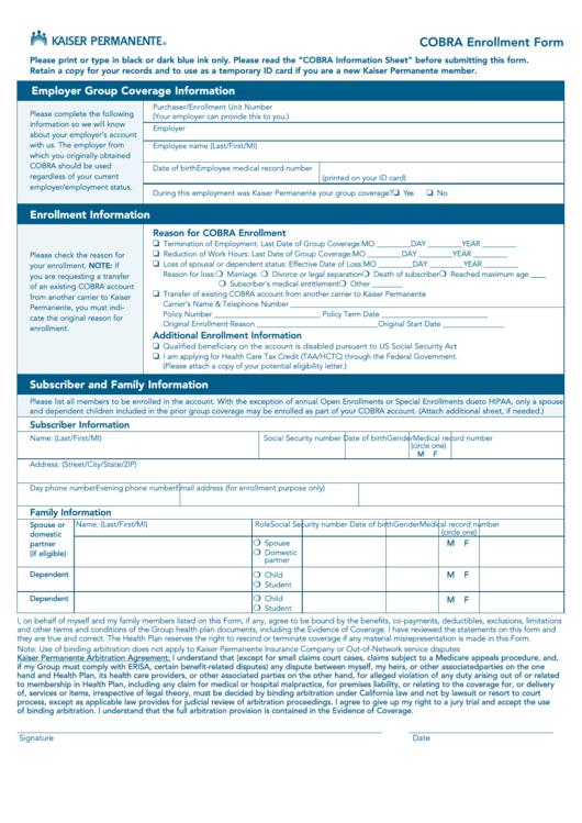 kaiser permanente federal cobra enrollment form  page 2 of
