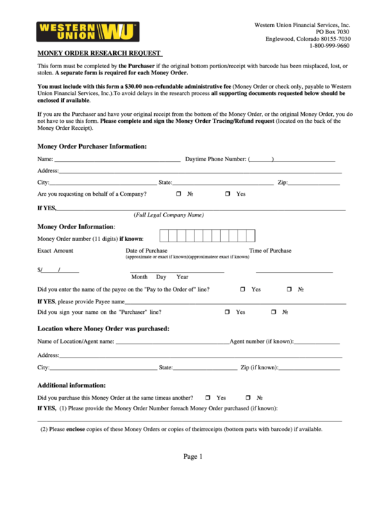 Fillable Money Order Research Request Form - Western Union printable