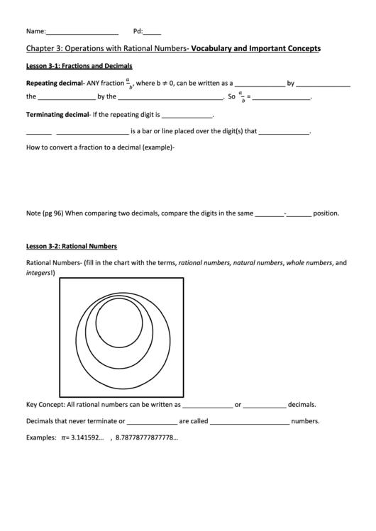 Math Worksheet - Operations With Rational Numbers