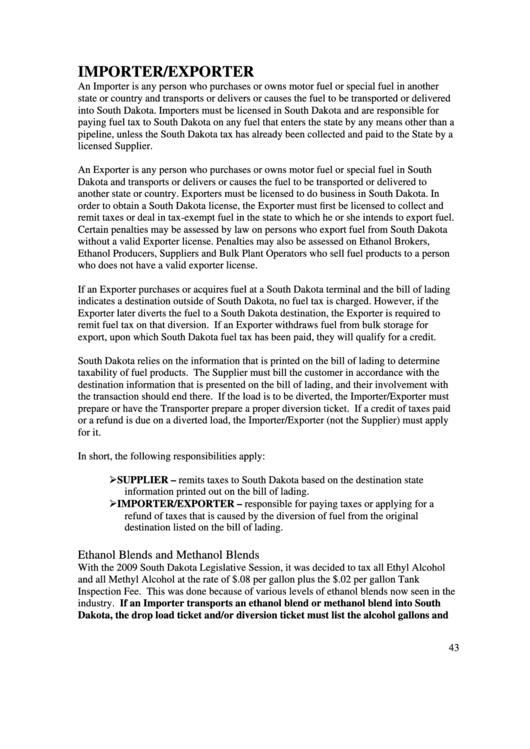 Form Mv-594 - South Dakota Importer And Exporter Tax Return Printable pdf