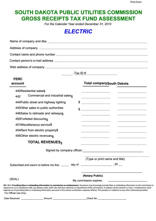 Fillable Gross Receipts Tax Fund Assessment - South Dakota Public Utilities Commission - 2010 Printable pdf
