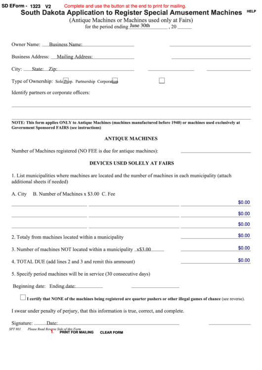Fillable Form Spt 801 - South Dakota Application To Register Special Amusement Machines Printable pdf