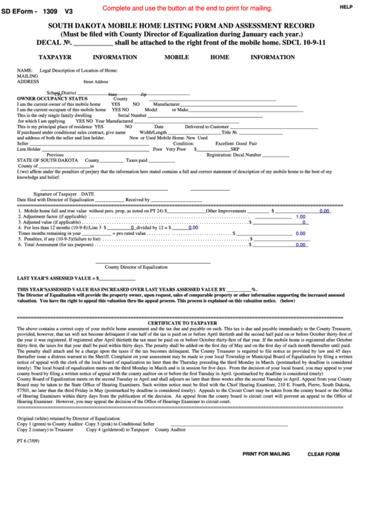 Fillable Form Pt 6 - South Dakota Mobile Home Listing Form And Assessment Record Printable pdf