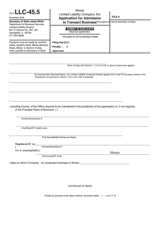 fillable form llc-45 5