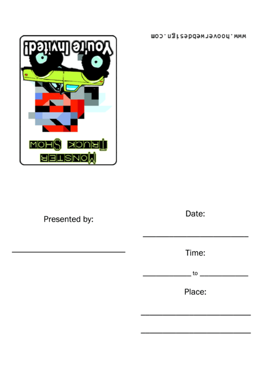 Monster Truck Show Invitations Template Printable pdf
