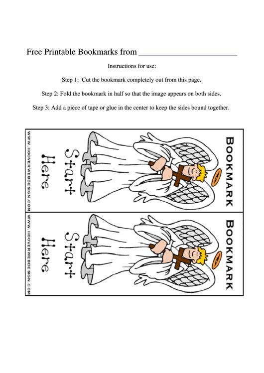 Angel Bookmarks Template Printable pdf