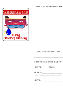 Red Car Drivers License Party Invitations Template