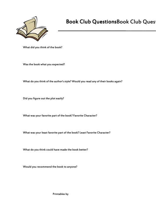 Book Club Questions Template Printable pdf