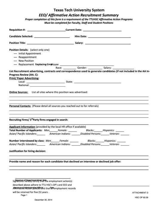 Affirmative Action Recruitment Summary Form