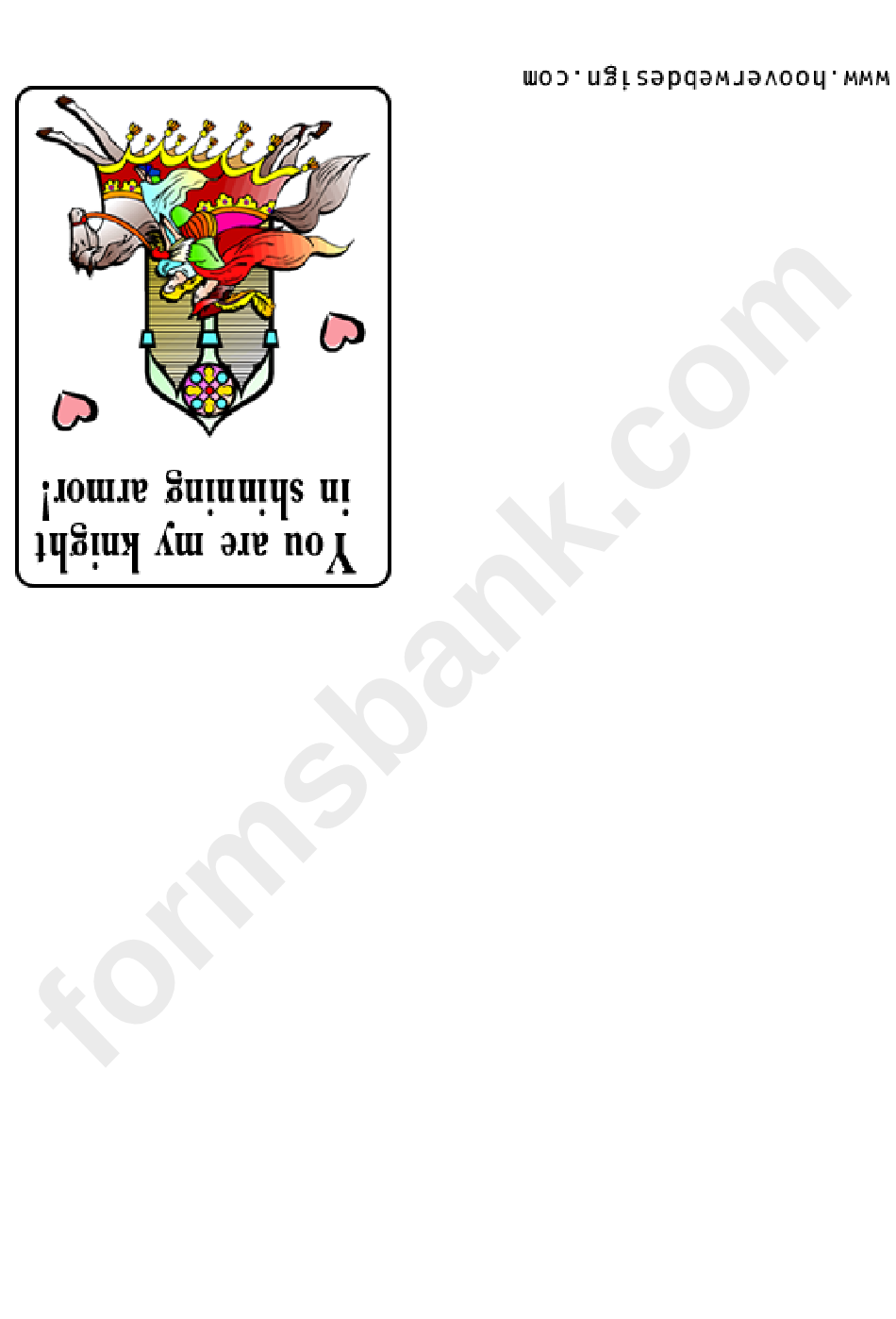 You Are My Knight On Shining Armor Greeting Card Template