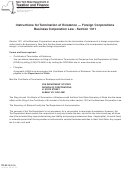 Form Tr-30.15 - Instructions For Termination Of Existence - Foreign Corporations