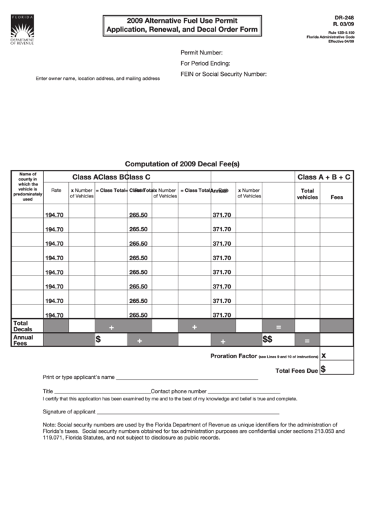 Form Dr-248 - Alternative Fuel Use Permit Application, Renewal, And Decal Order Form - 2009 Printable pdf