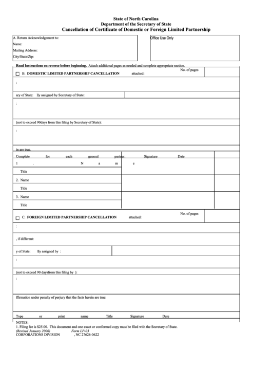 Fillable Form Lp-03 - Cancellation Of Certificate Of Domestic Or Foreign Limited Partnership Printable pdf