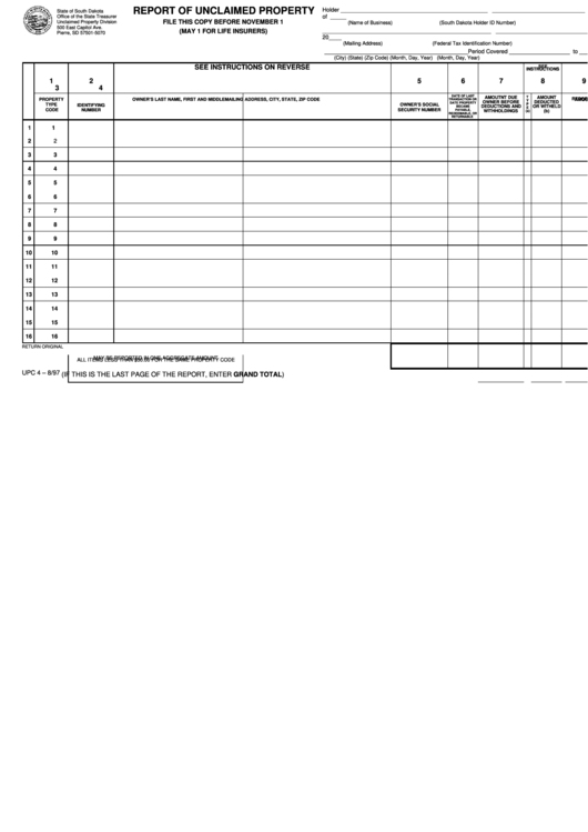 Form Upc 4 - Report Of Unclaimed Property Printable pdf