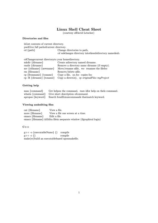 Linux Shell Cheat Sheet