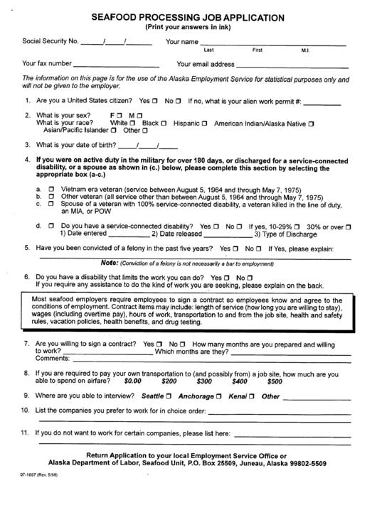 Seafood Processing Job Application Form Printable pdf