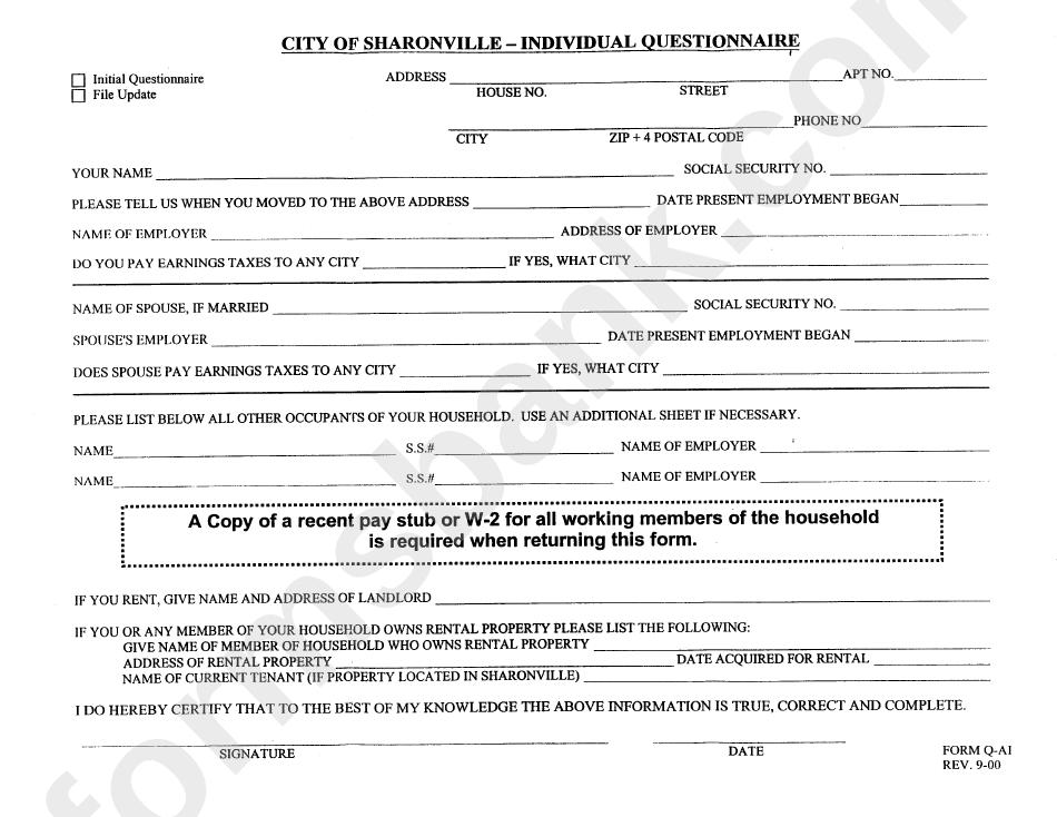 Form Q-Ai - Individual Questionnaire