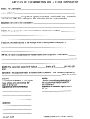 Form For Articles Of Incorporation For A Close Corporation