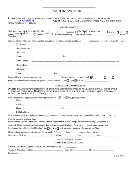 Oath Intake Sheet Form printable pdf download