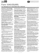 Form 1040-es(nr) - U.s. Estimated Tax For Nonresident Alien Individuals - 2009