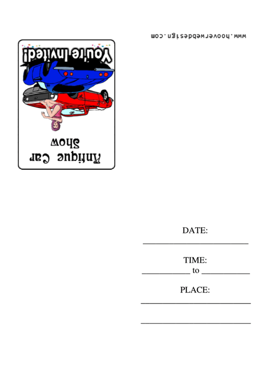 Antique Car Show Invitation Template Printable pdf