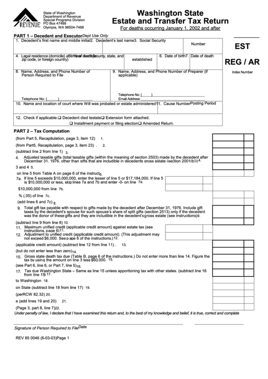 Washington State Estate And Transfer Tax Return Form