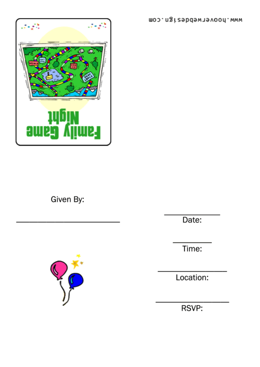 Family Game Night Invitation Template Printable pdf