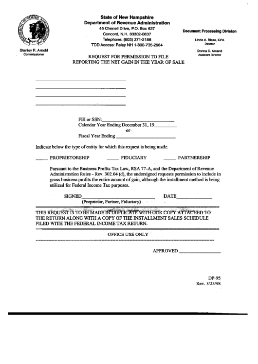Form Dp-95 - Request For Premission To File Reporting The ...